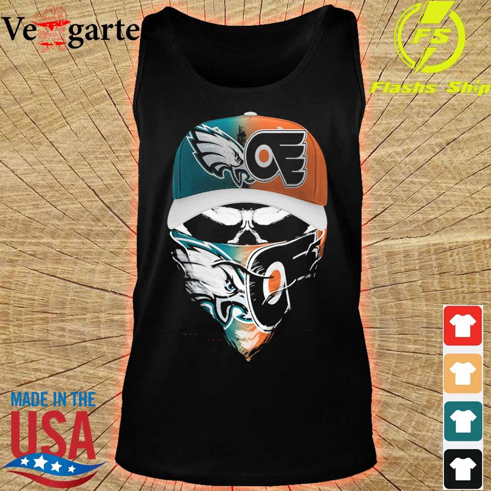 Skull face mask Eagles and Philadelphia Flyers logo s tank top