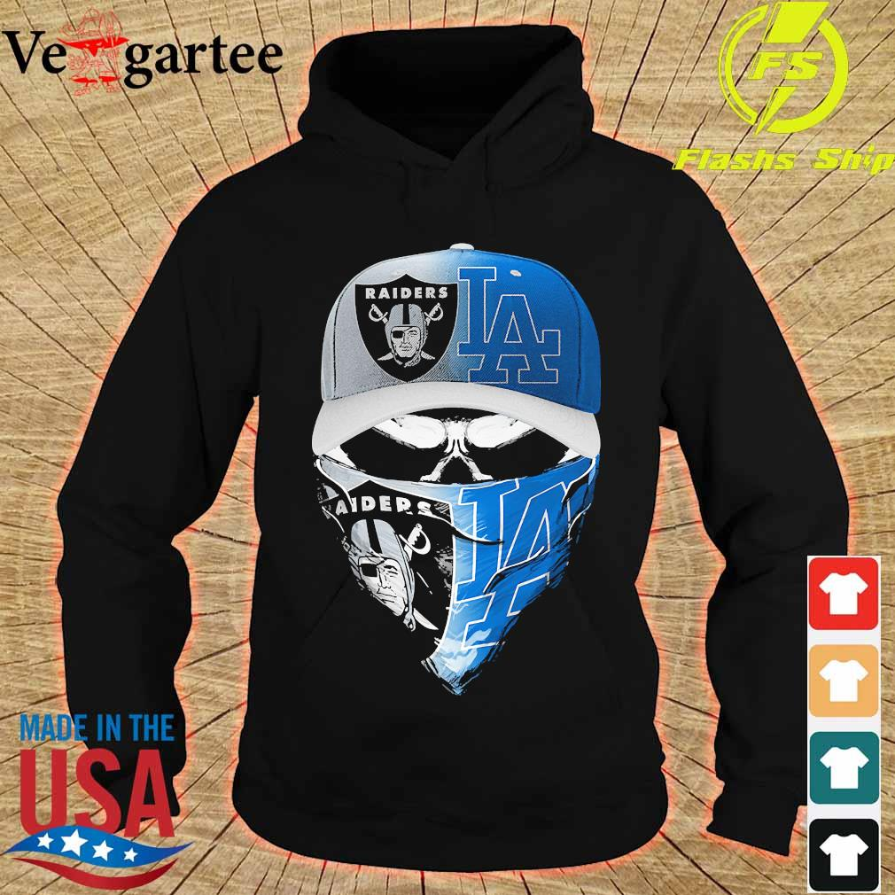 Skull face mask Oakland Raiders and Los Angeles Dodgers s hoodie