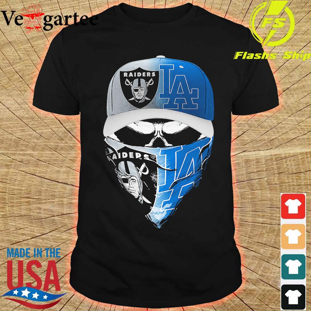 Skull face mask Oakland Raiders and Los Angeles Dodgers shirt