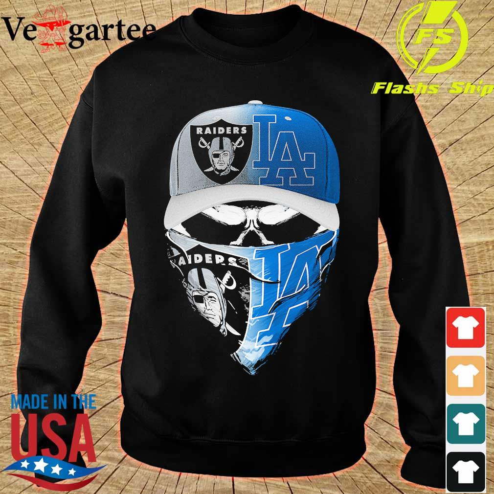 Skull face mask Oakland Raiders and Los Angeles Dodgers s sweater