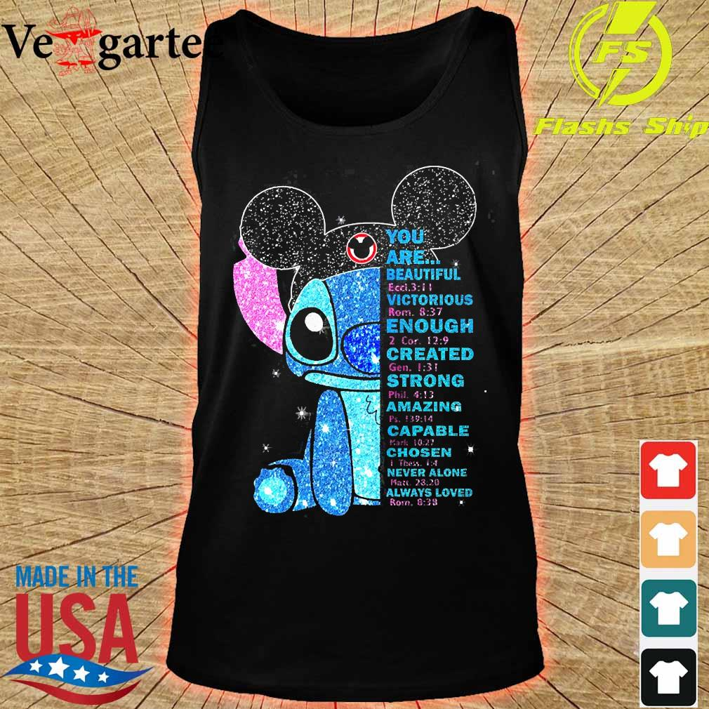 Stitch You are beautiful victorious enough created strong amazing capable chosen never alone always loved s tank top