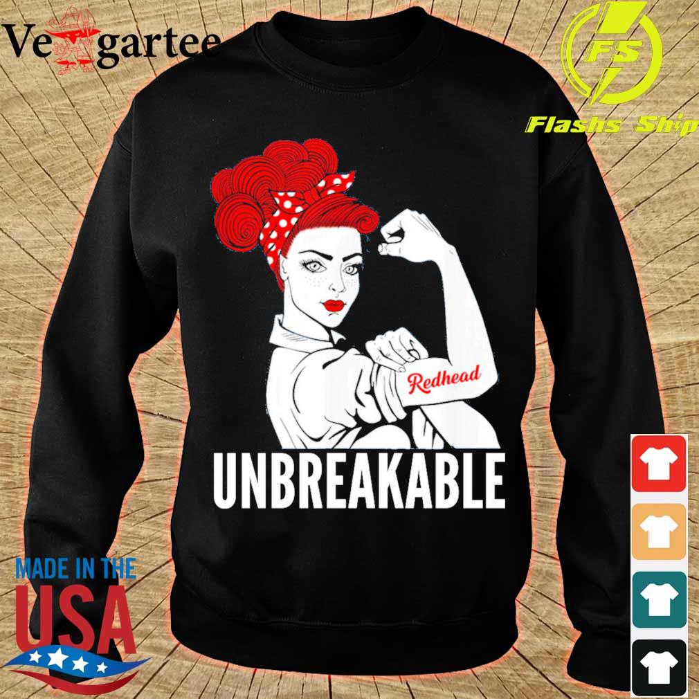Strong Woman tattoo Redhead Girl unbreakable s sweater