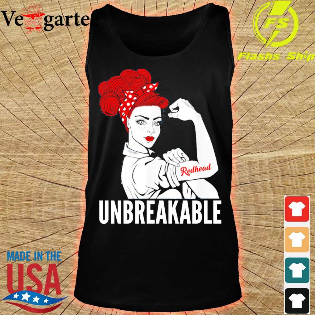 Strong Woman tattoo Redhead Girl unbreakable s tank top