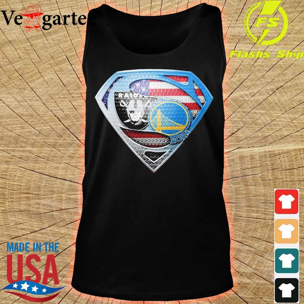 Superman Golden state Warriors and Oakland Raiders s tank top