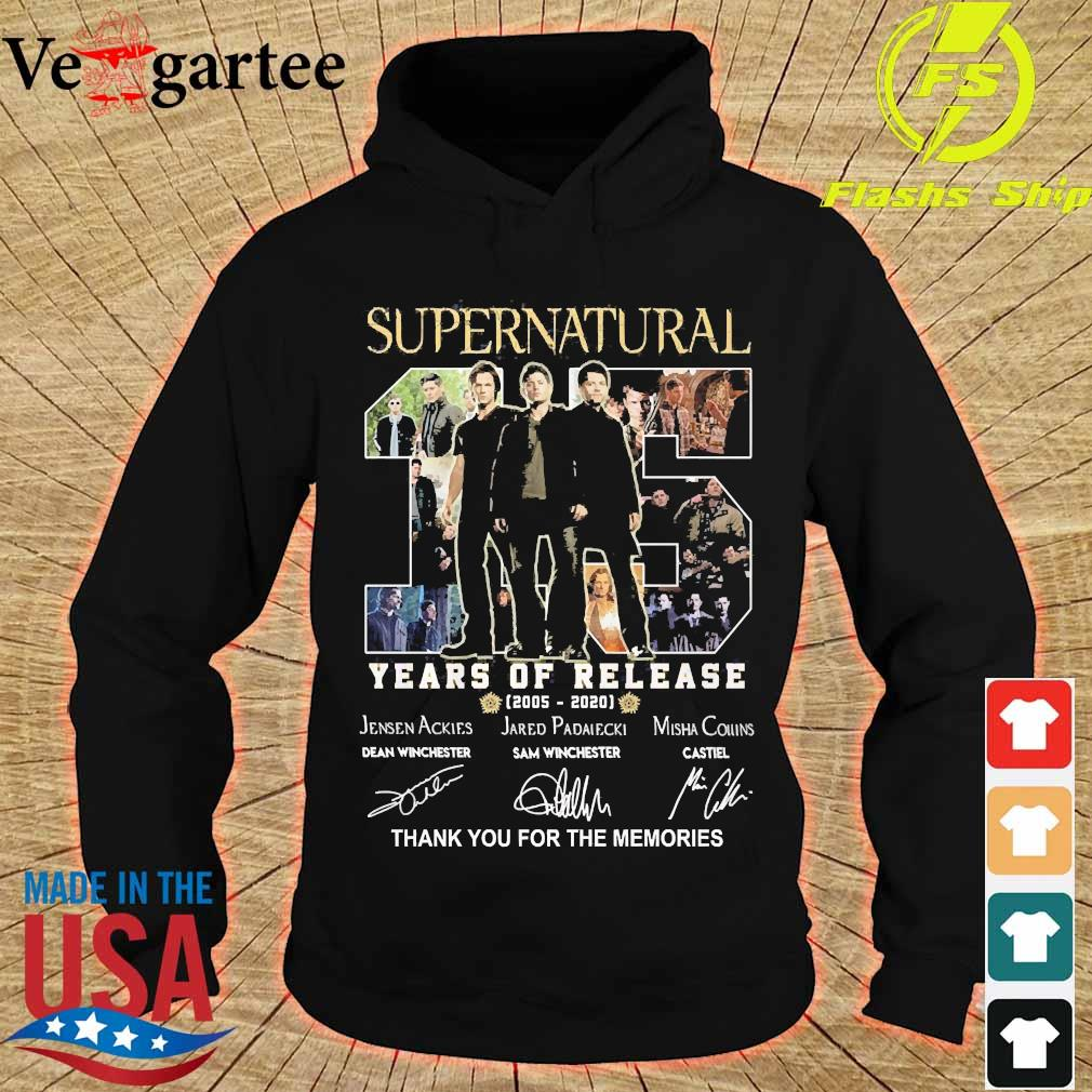 Supernatural 15 Years of release 2005 2020 thank You for the memories signatures s hoodie