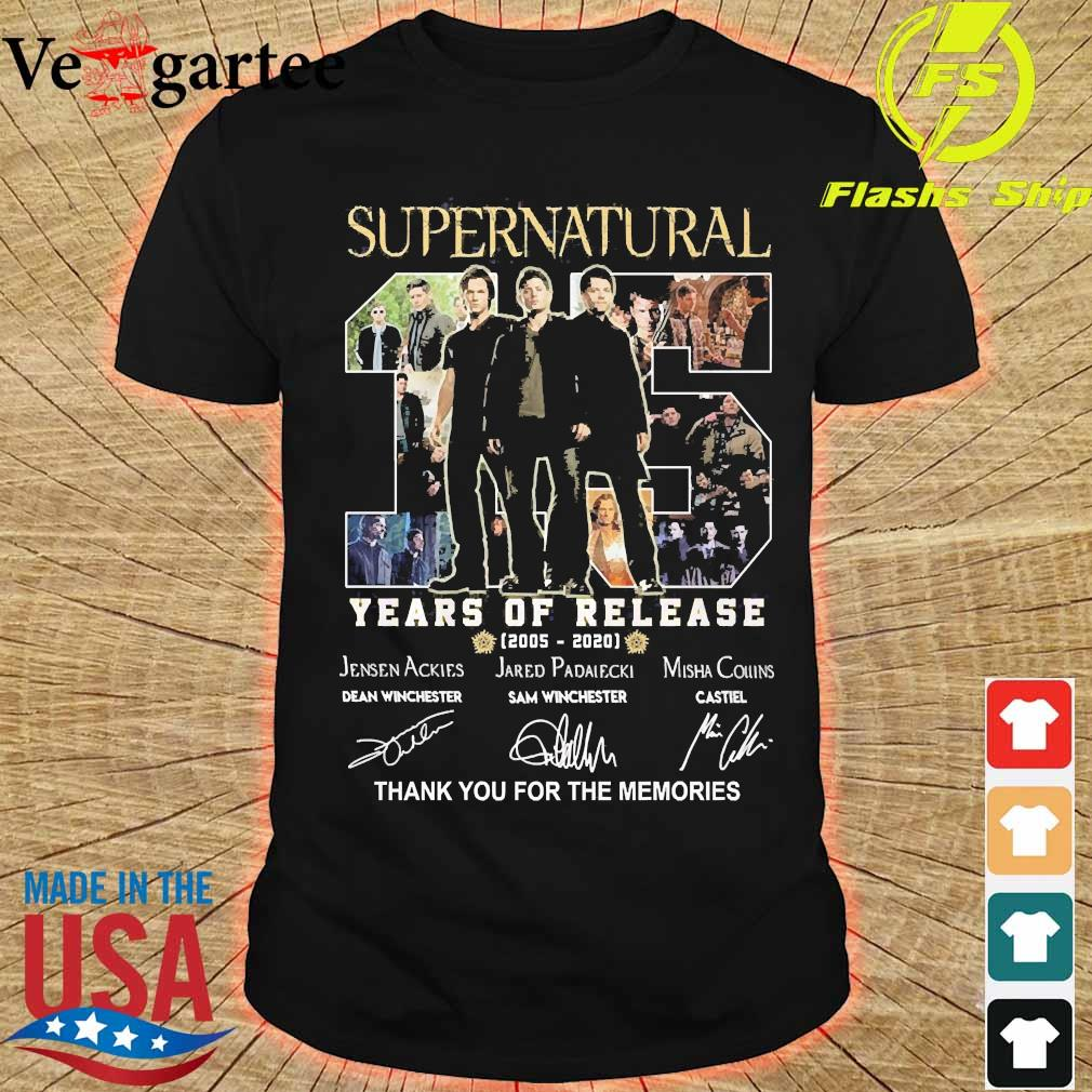 Supernatural 15 Years of release 2005 2020 thank You for the memories signatures shirt