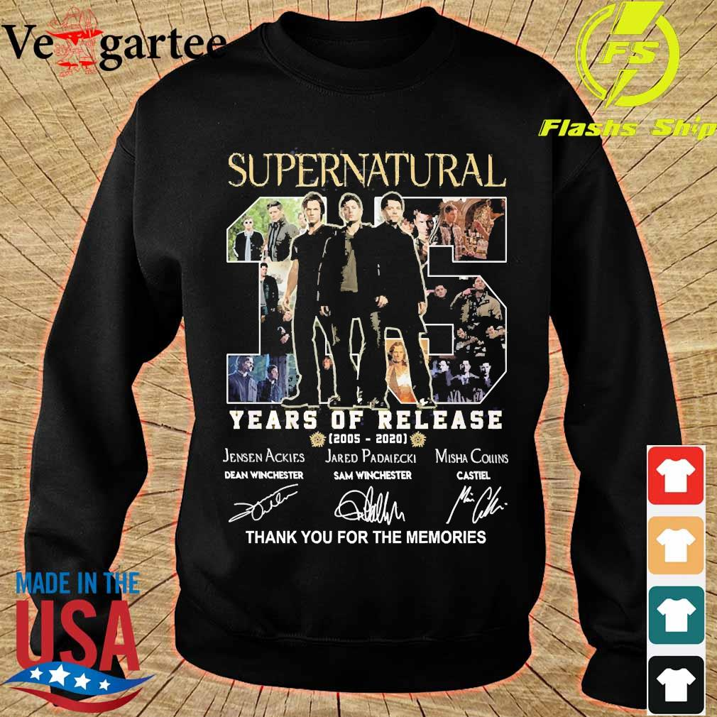 Supernatural 15 Years of release 2005 2020 thank You for the memories signatures s sweater