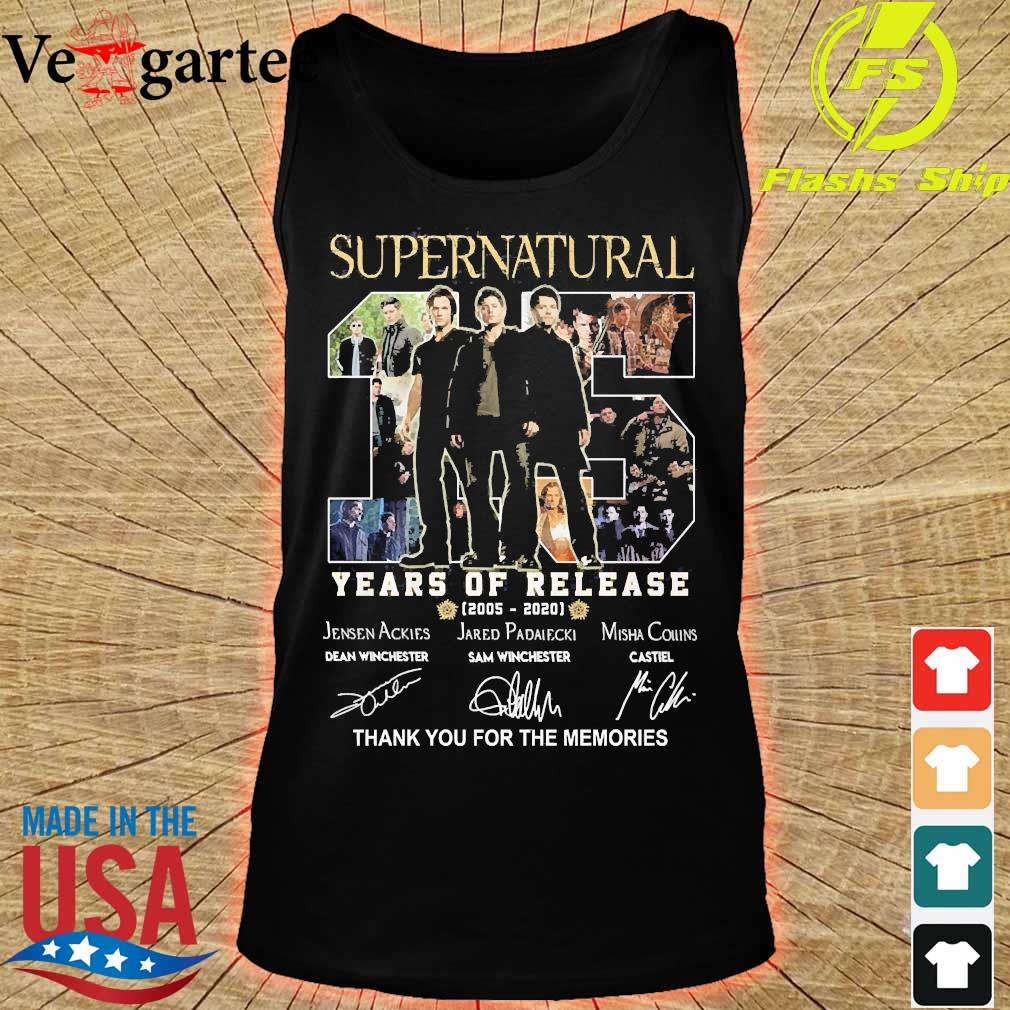 Supernatural 15 Years of release 2005 2020 thank You for the memories signatures s tank top