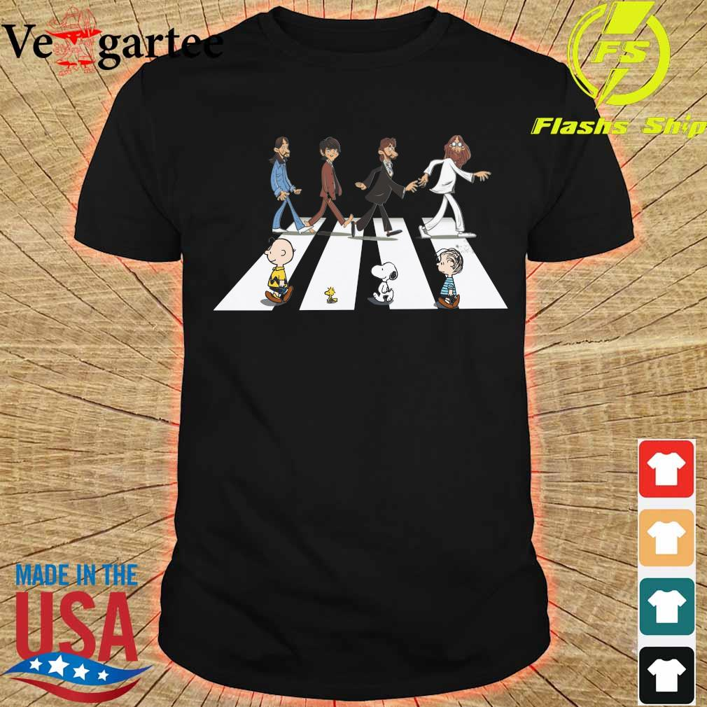 The Beatles members and the Peanuts Abbey road shirt