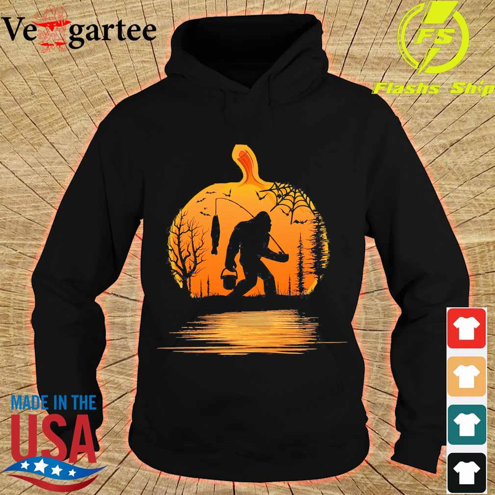 the Bigfoot go fishing and halloween pumpkin s hoodie