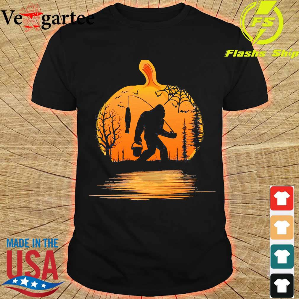 the Bigfoot go fishing and halloween pumpkin shirt