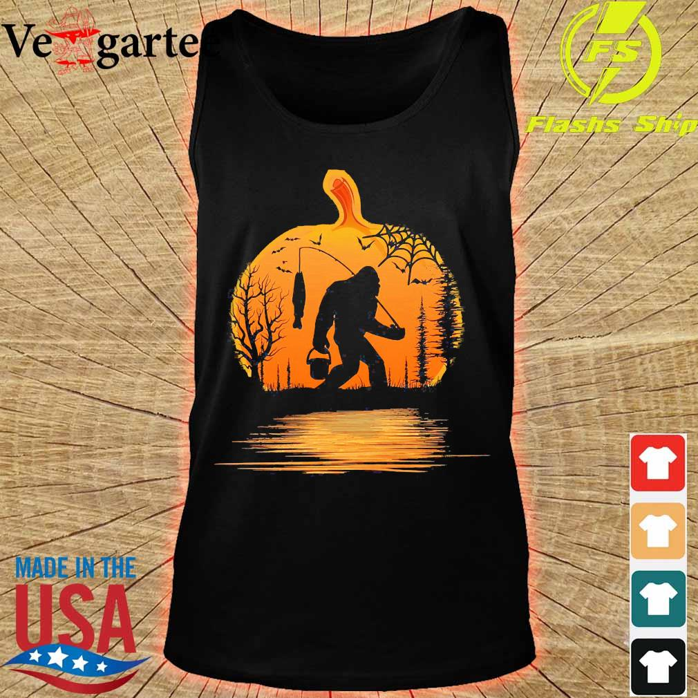 the Bigfoot go fishing and halloween pumpkin s tank top