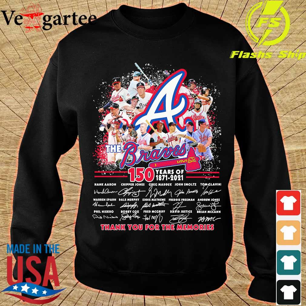 The Braves 150 years of 1871 2021 thank You for the memories signatures s sweater