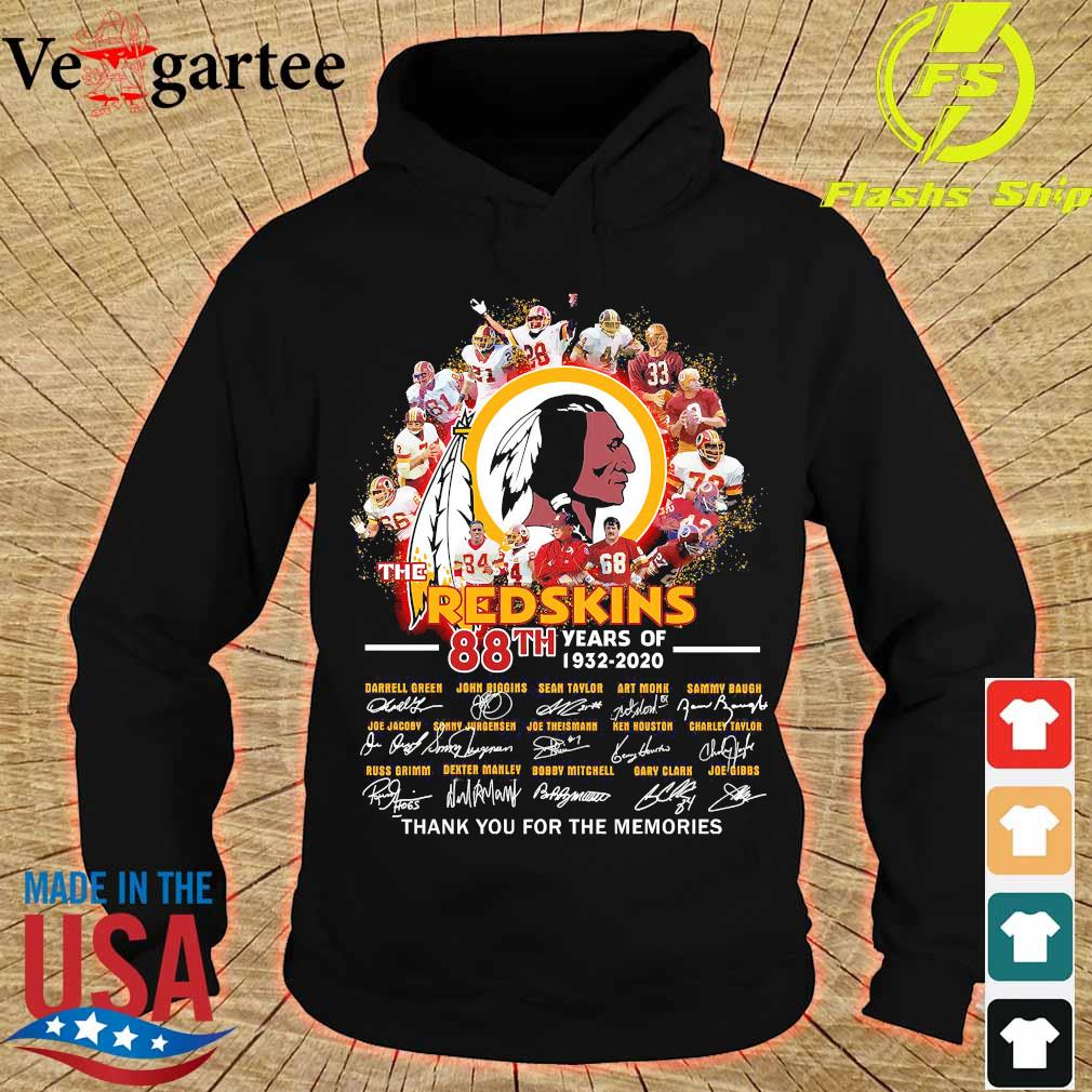 The Redskins 88th years of 1932 2020 thank You for the memories signatures s hoodie