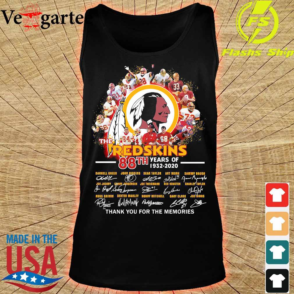 The Redskins 88th years of 1932 2020 thank You for the memories signatures s tank top