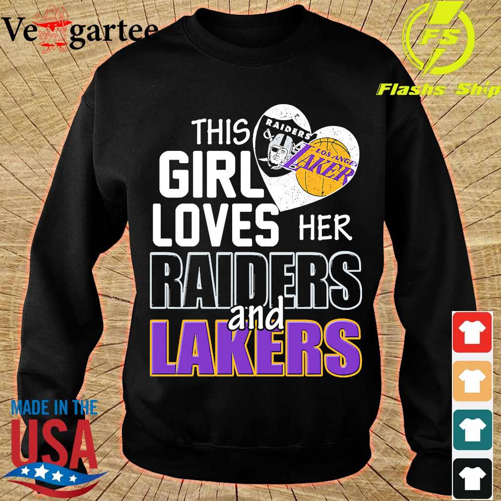 This girl loves her Raiders and Lakers s sweater
