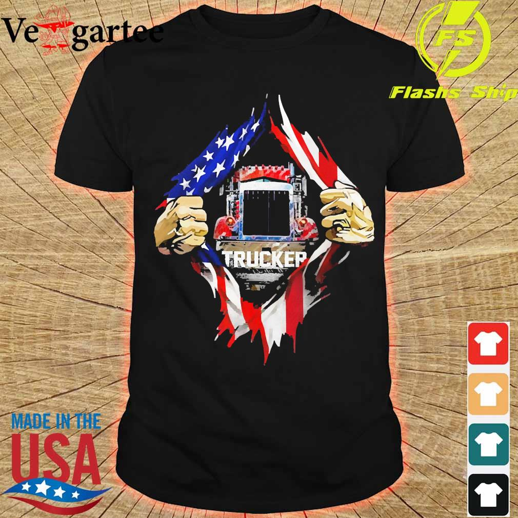 Trucker and American Flag blood inside me shirt