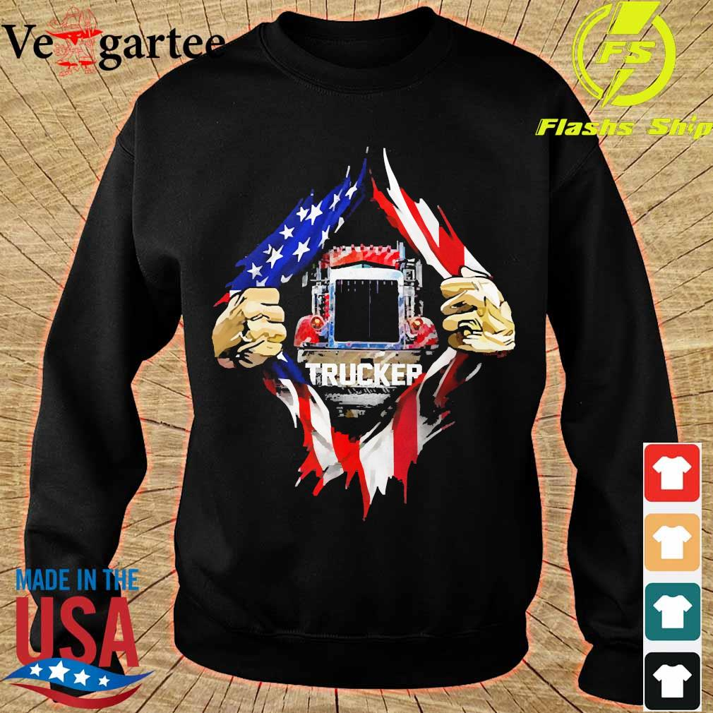 Trucker and American Flag blood inside me s sweater