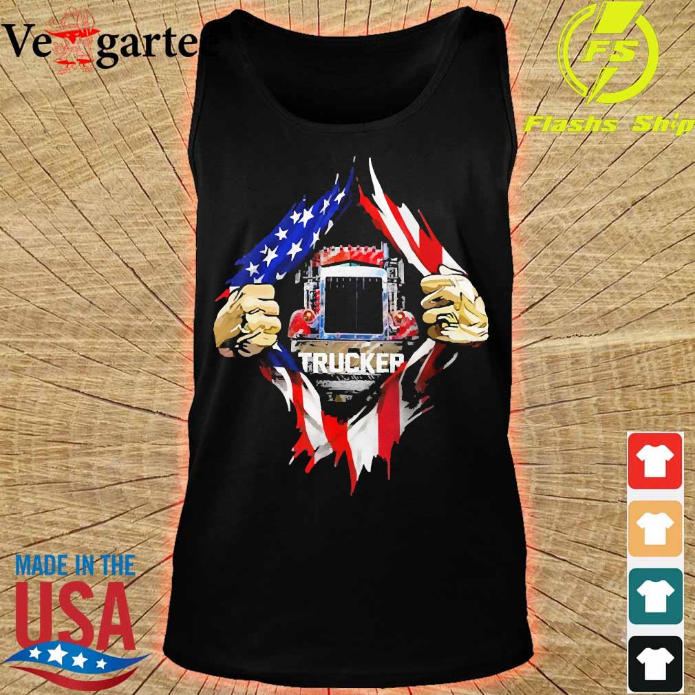 Trucker and American Flag blood inside me s tank top
