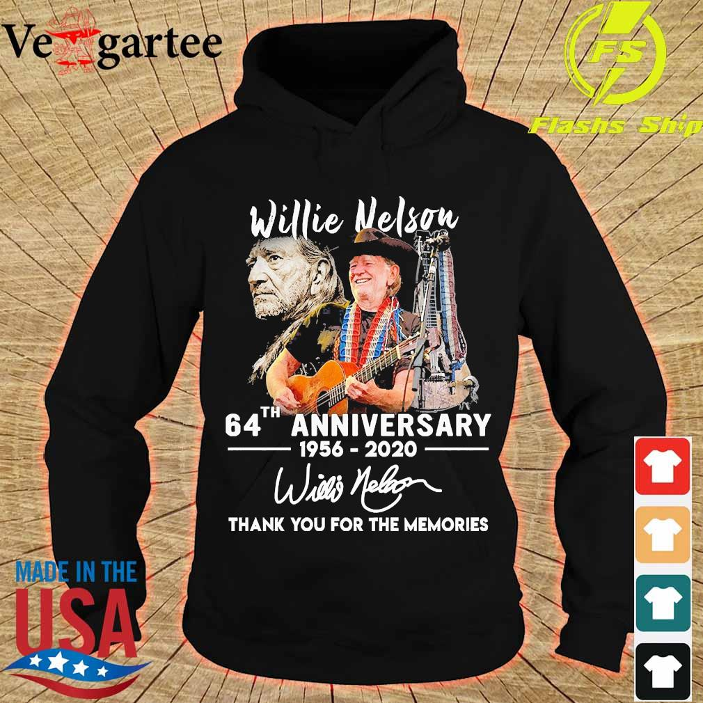 Willie Nelson 64th anniversary 1956 2020 thank You for the memories signature s hoodie