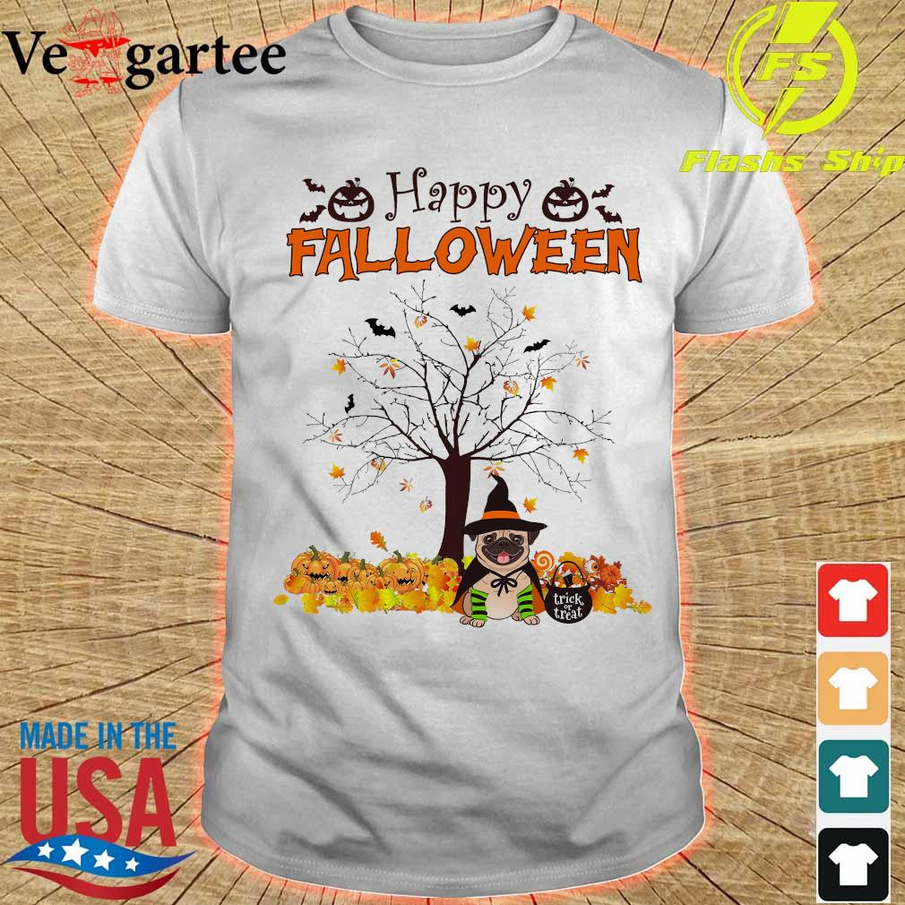 Witch Pug dog Trick or treat Happy halloween shirt