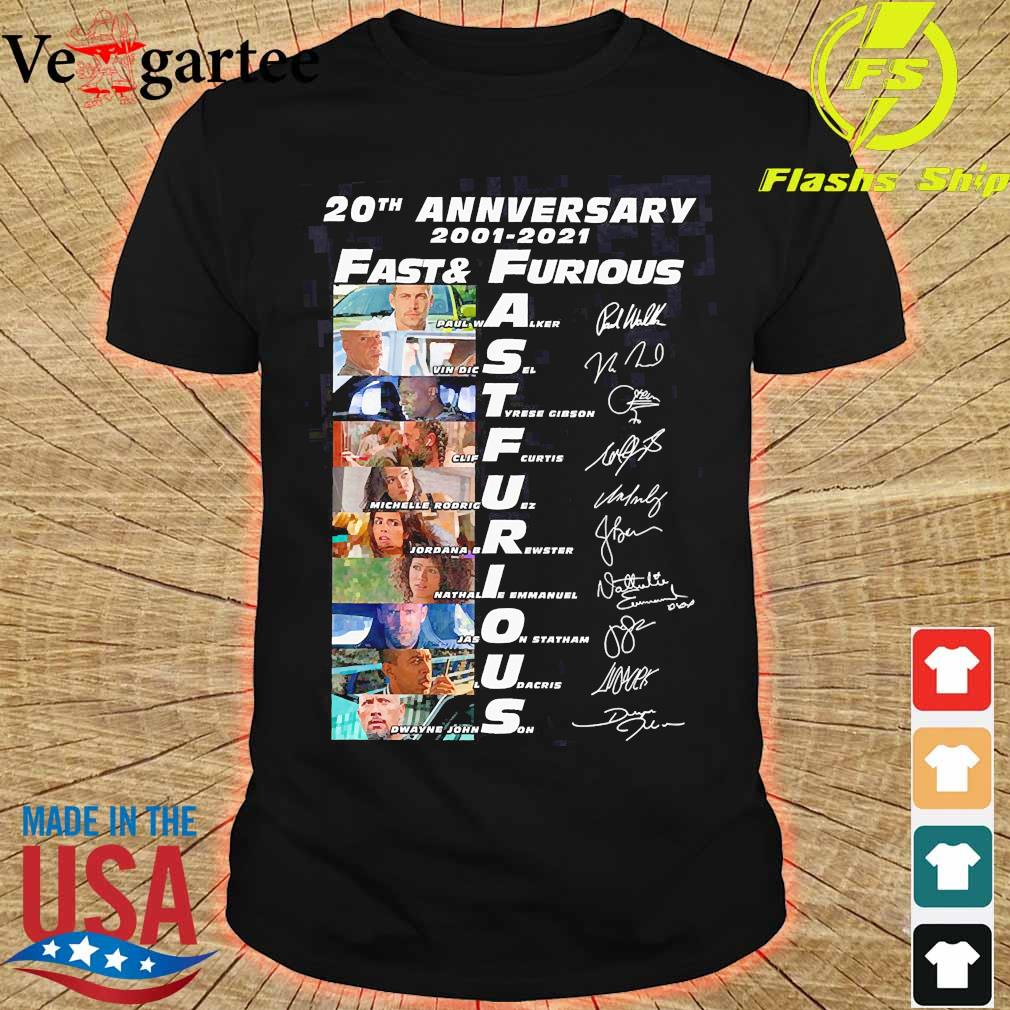 20th anniversary 2001 2021 Fast and Furious members signatures shirt