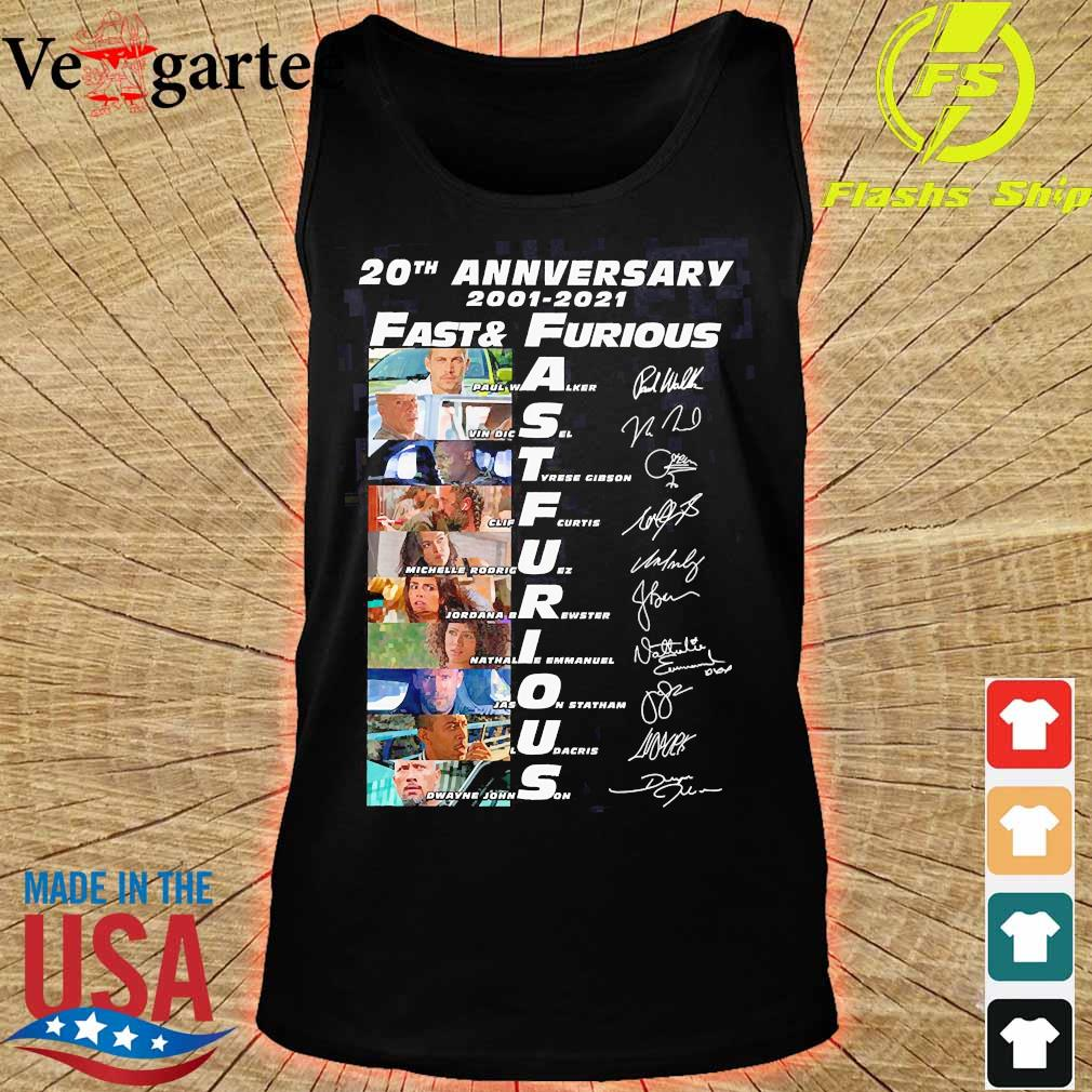 20th anniversary 2001 2021 Fast and Furious members signatures s tank top