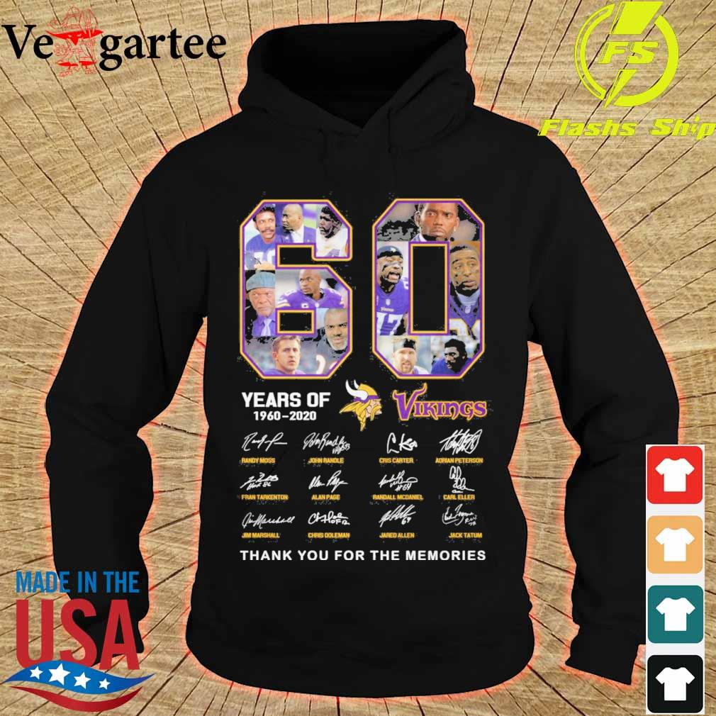 60 years of Minnesota Vikings 1960 2020 signature thank you for the memories s hoodie