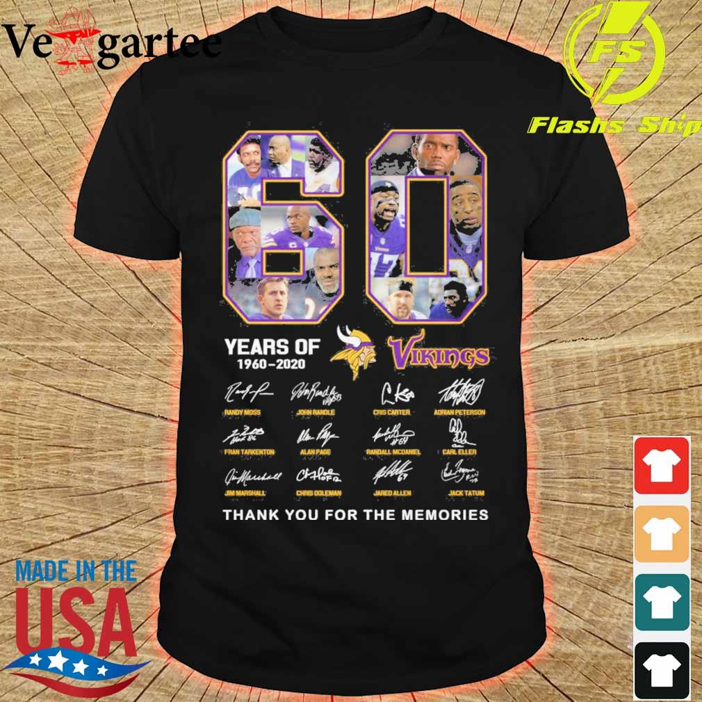 60 years of Minnesota Vikings 1960 2020 signature thank you for the memories shirt