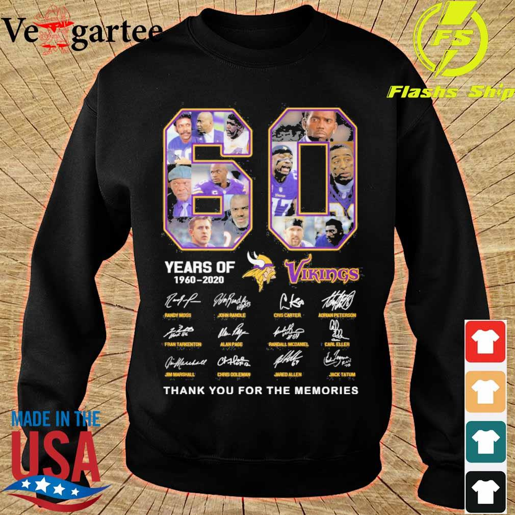60 years of Minnesota Vikings 1960 2020 signature thank you for the memories s sweater
