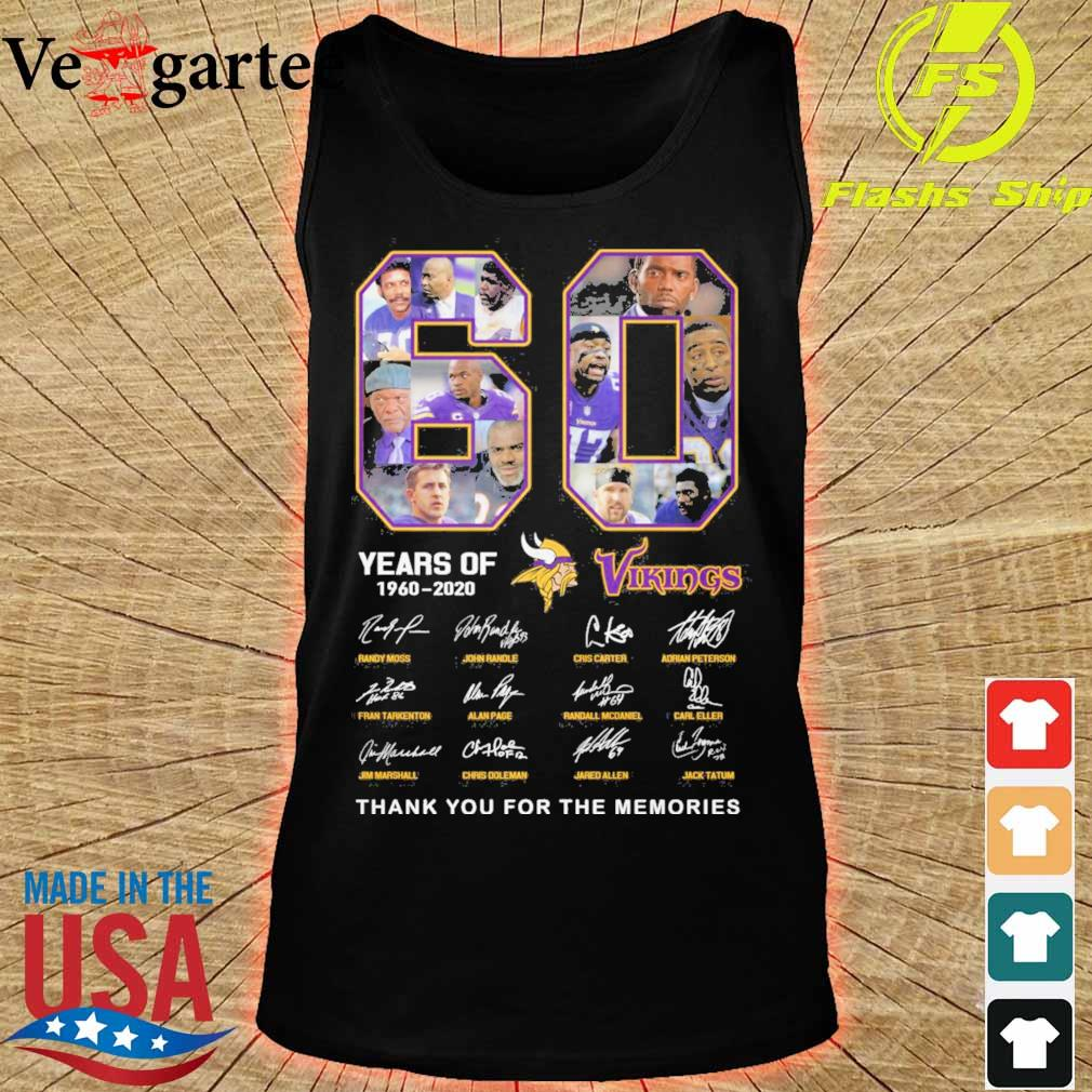 60 years of Minnesota Vikings 1960 2020 signature thank you for the memories s tank top