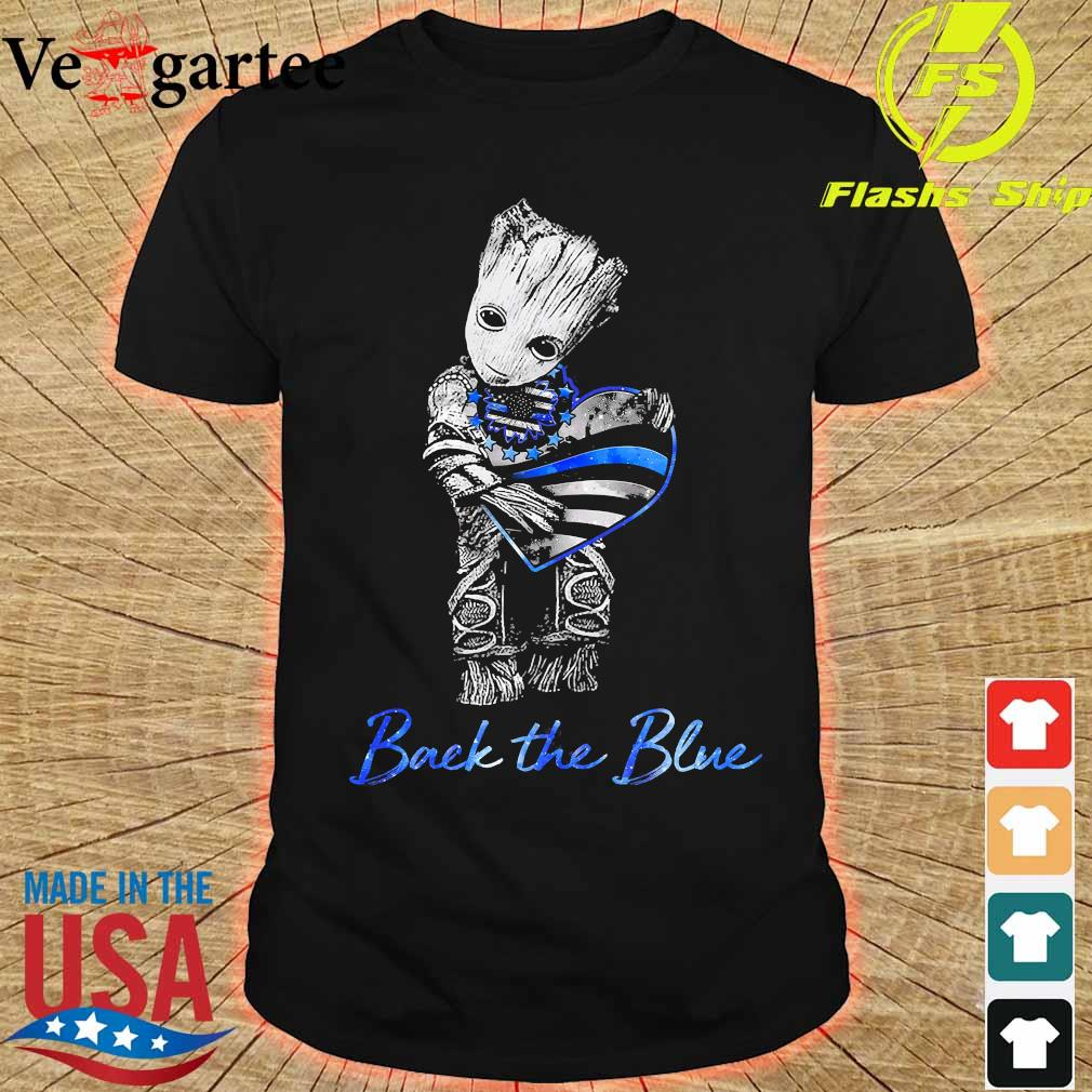 Baby Groot hug heart American flag back the blue shirt
