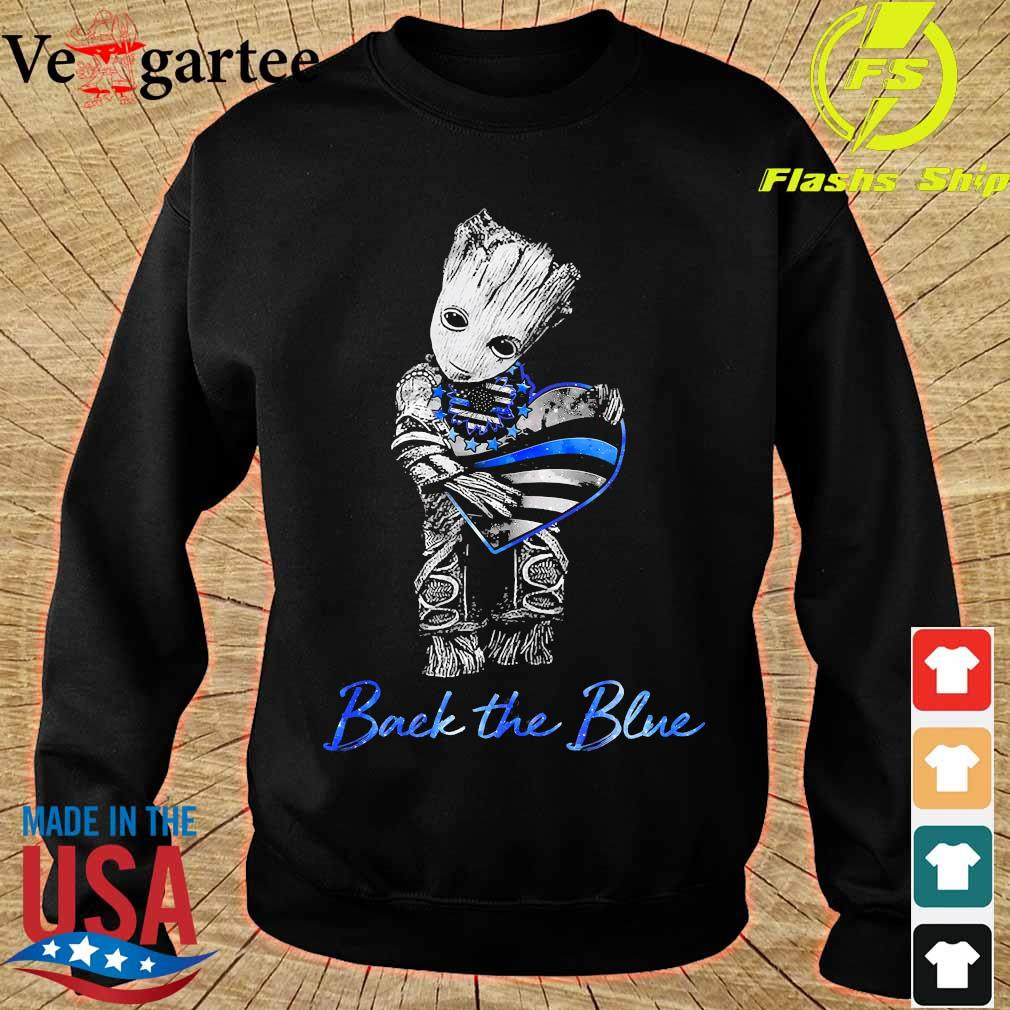 Baby Groot hug heart American flag back the blue s sweater