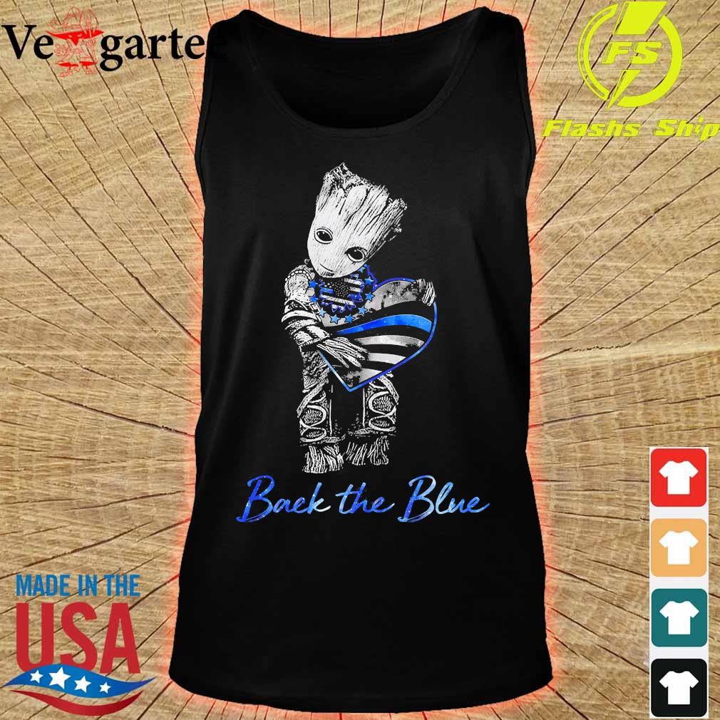Baby Groot hug heart American flag back the blue s tank top