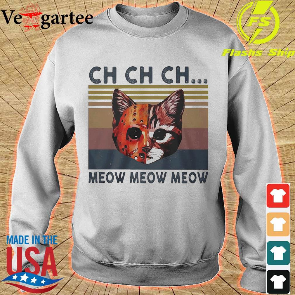 Cats Jason Voorhees CH CH CH meow meow meow vintage s sweater