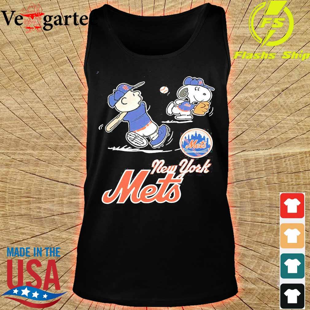 Charlie Brown And Snoopy play Baseball New York Mets s tank top