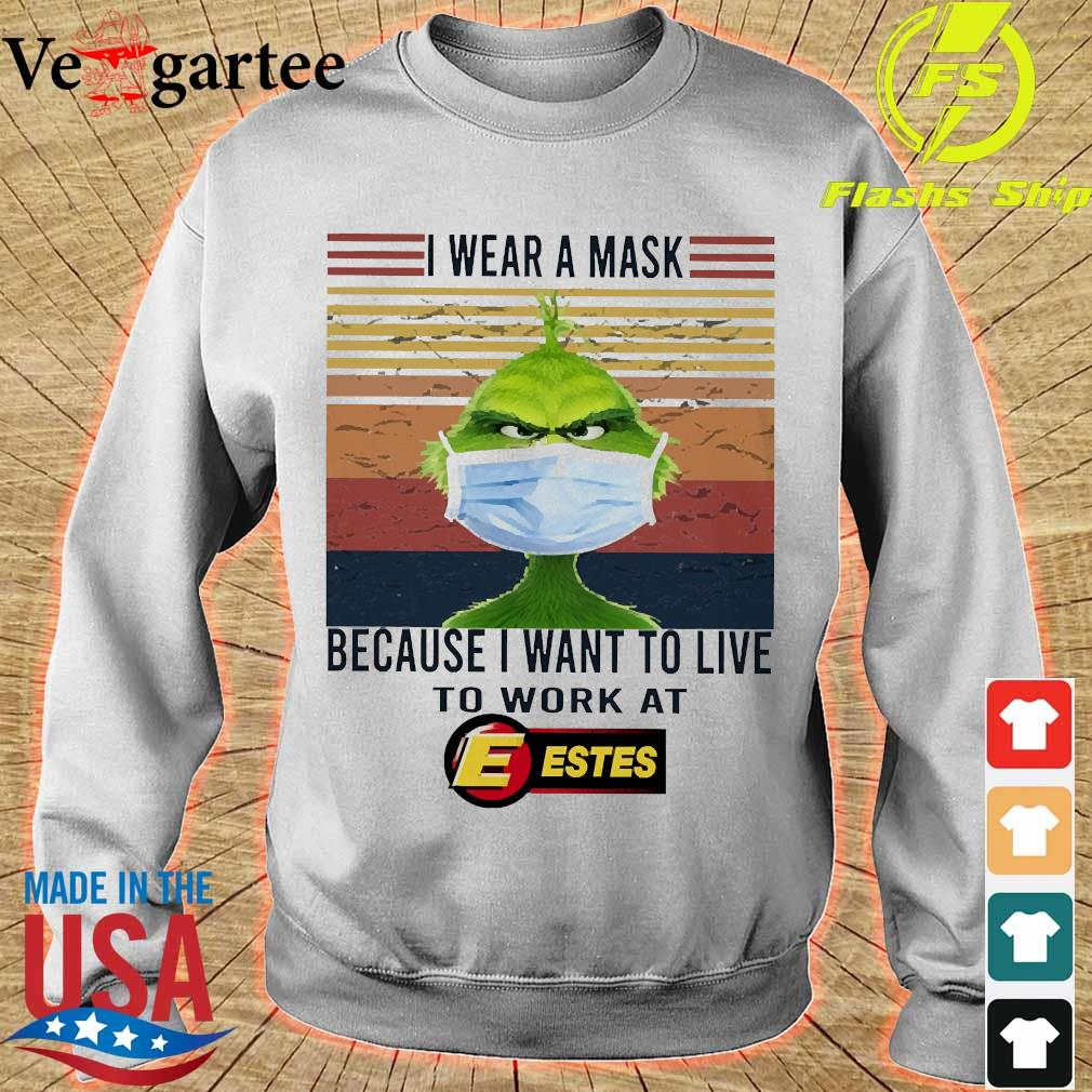 Grinch I wear a mask because I want to live to work at Estes vintage s sweater