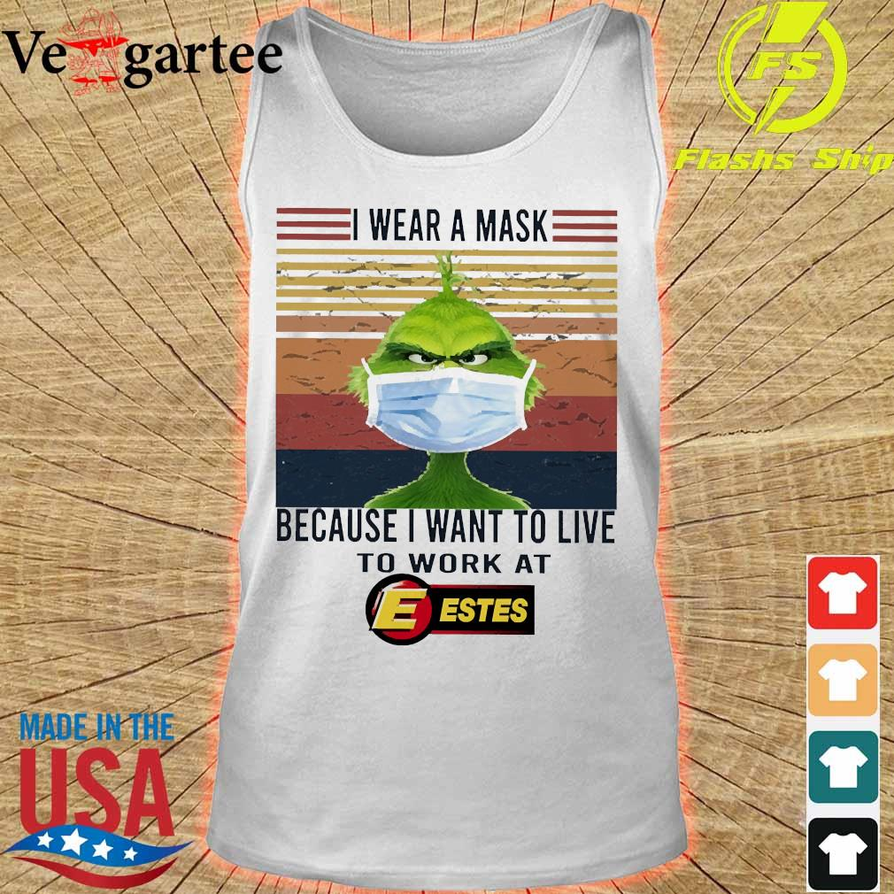 Grinch I wear a mask because I want to live to work at Estes vintage s tank top
