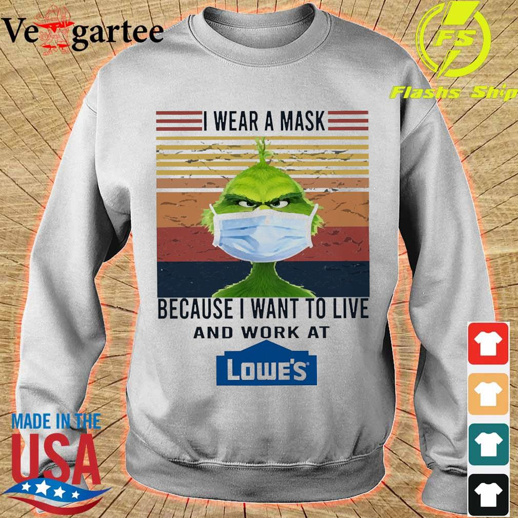 Grinch I wear a mask because I want to live to work at Lowe's vintage s sweater