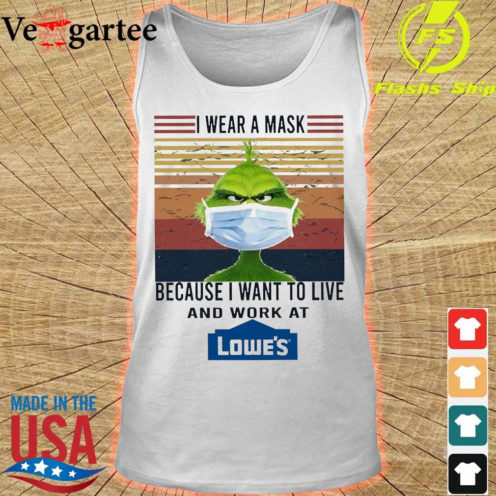 Grinch I wear a mask because I want to live to work at Lowe's vintage s tank top