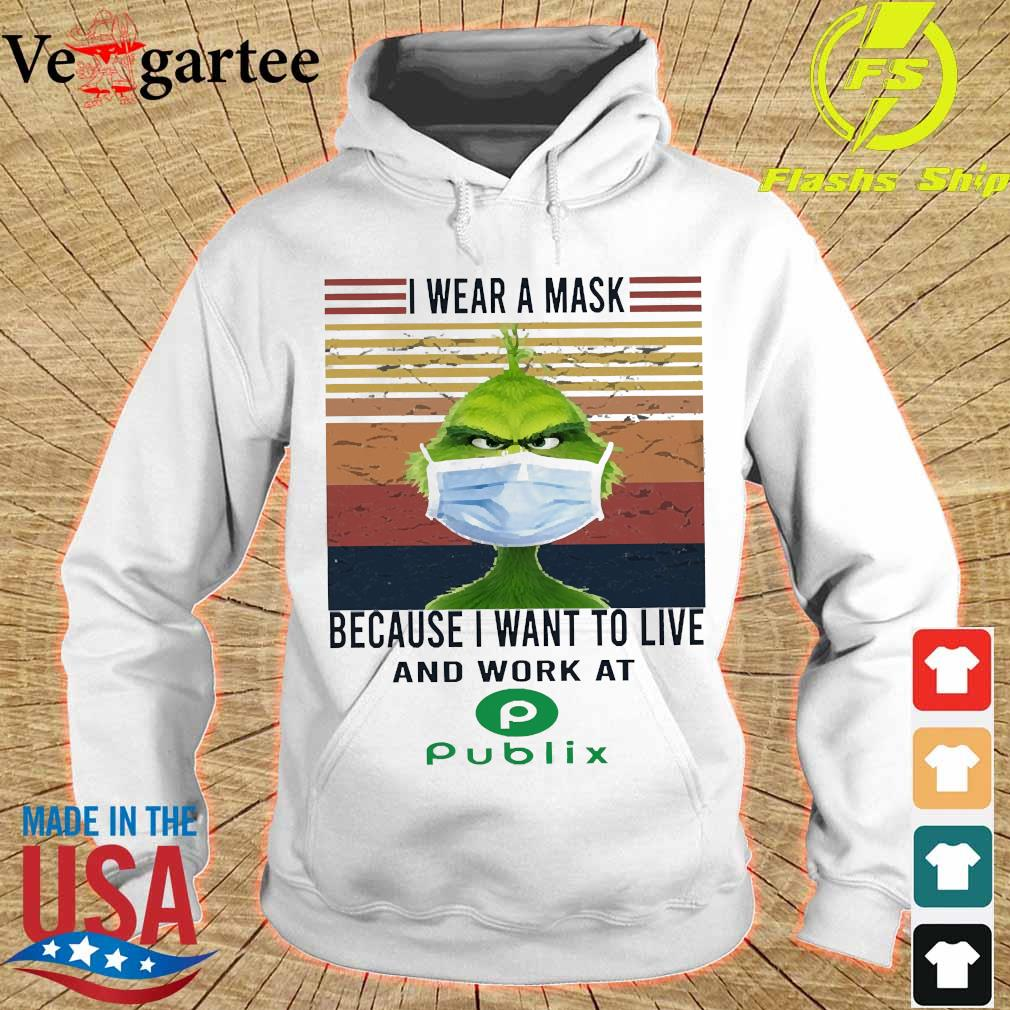 Grinch I wear a mask because I want to live to work at Piblix vintage s hoodie