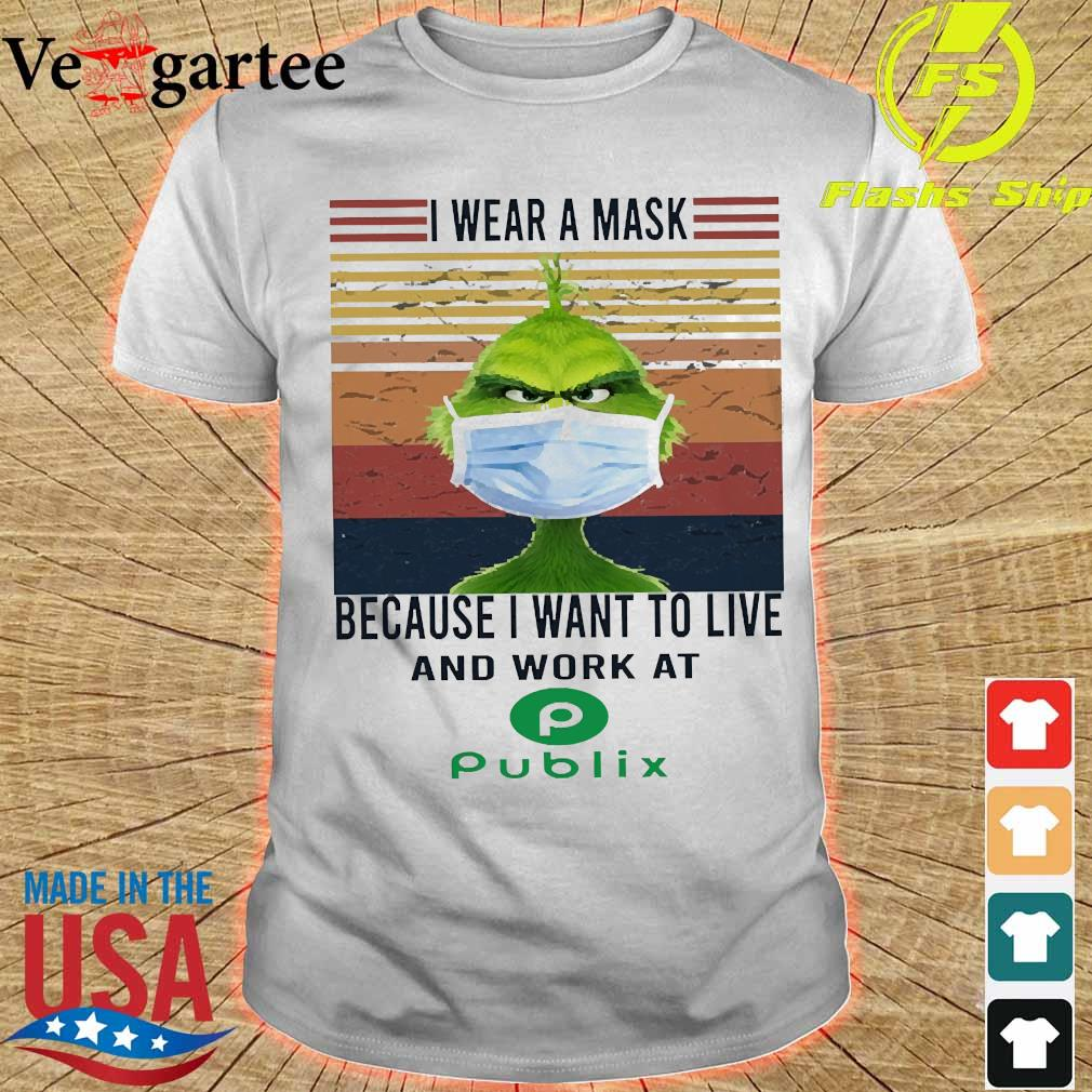 Grinch I wear a mask because I want to live to work at Piblix vintage shirt