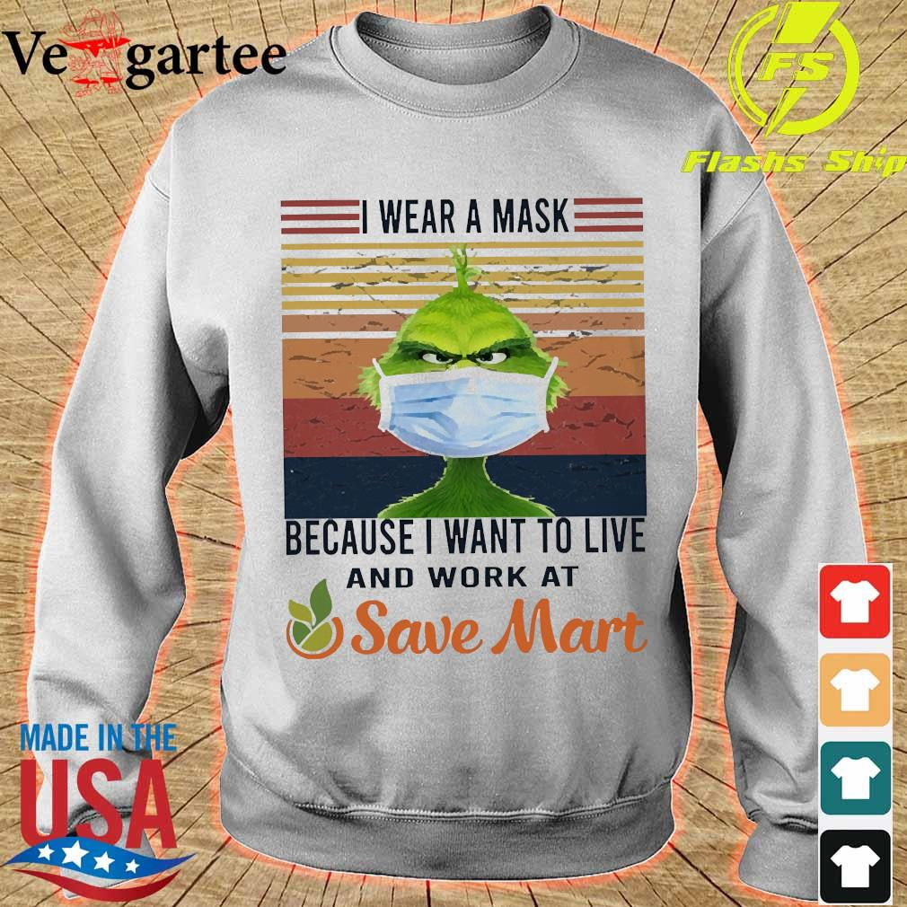 Grinch I wear a mask because I want to live to work at Save Mart vintage s sweater