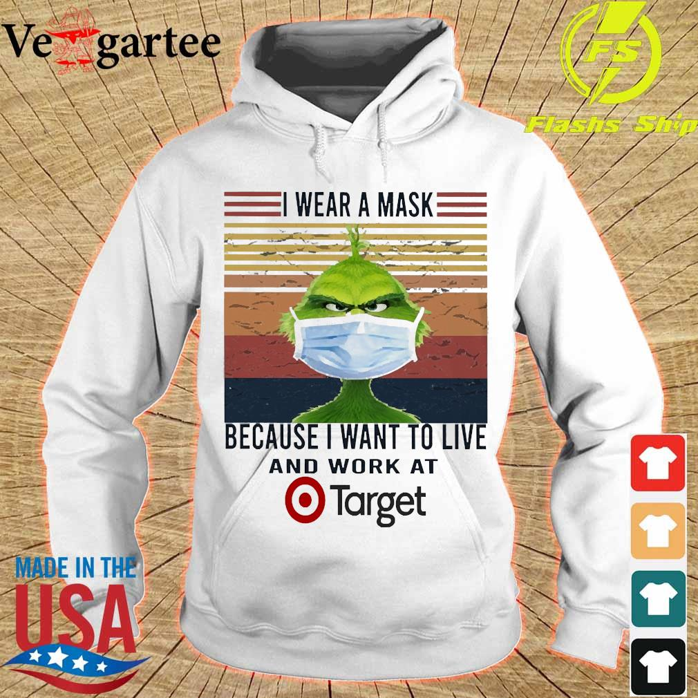 Grinch I wear a mask because I want to live to work at Target vintage s hoodie
