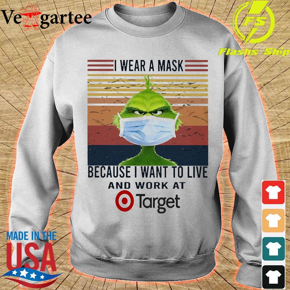 Grinch I wear a mask because I want to live to work at Target vintage s sweater