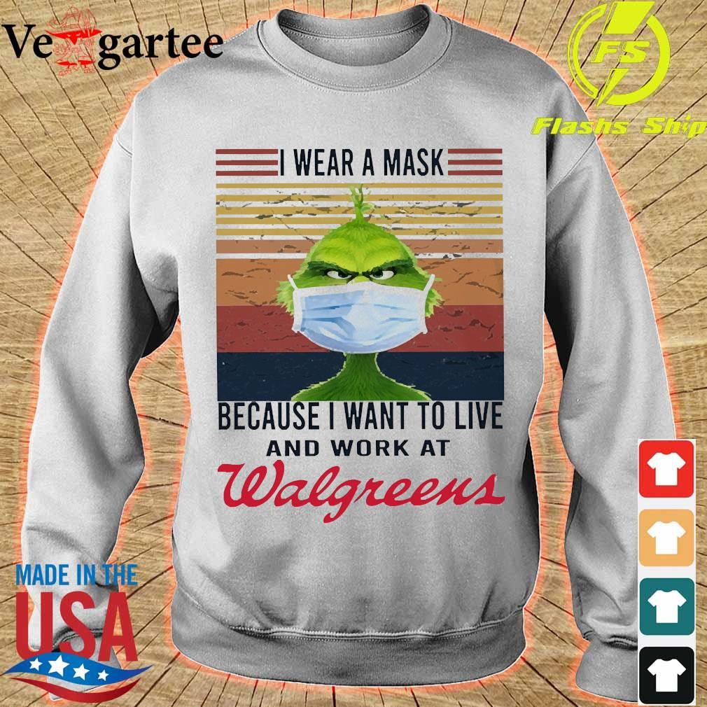 Grinch I wear a mask because I want to live to work at Walgreens vintage s sweater