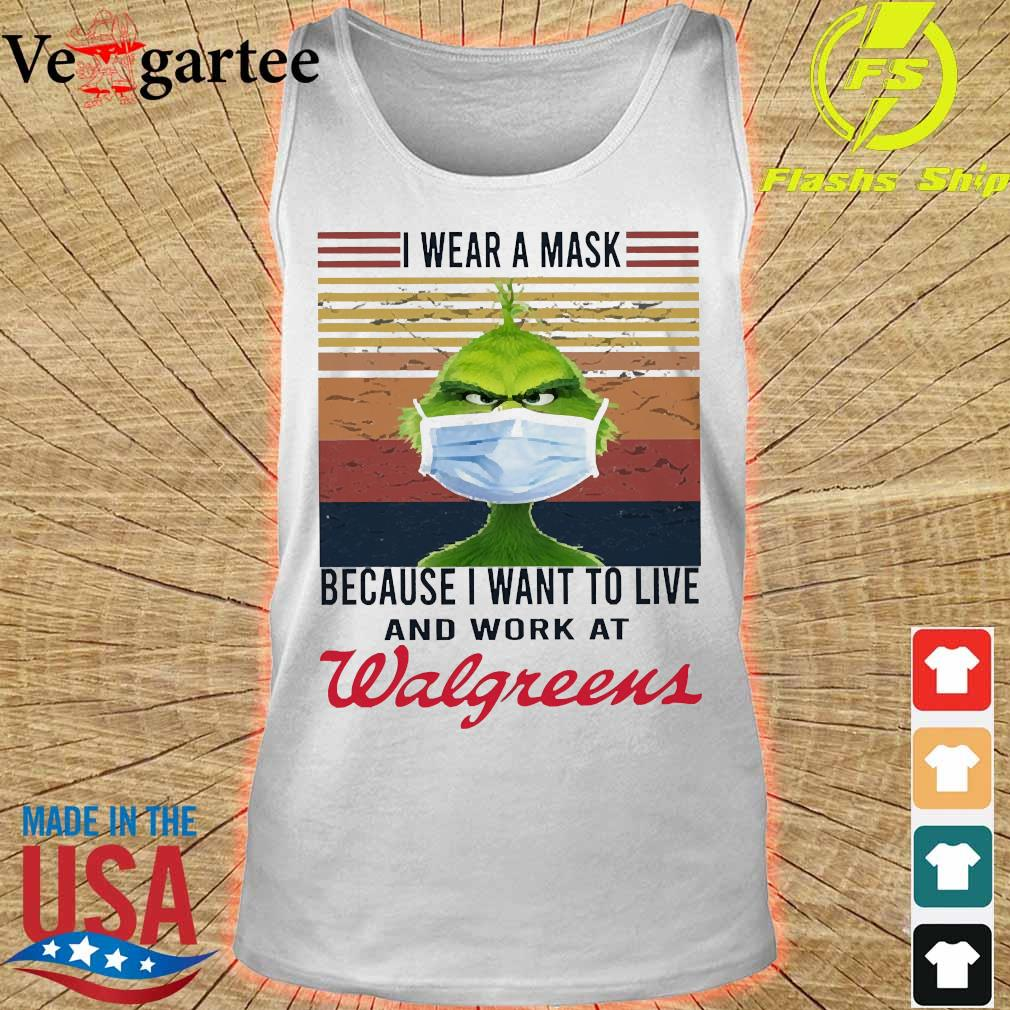 Grinch I wear a mask because I want to live to work at Walgreens vintage s tank top