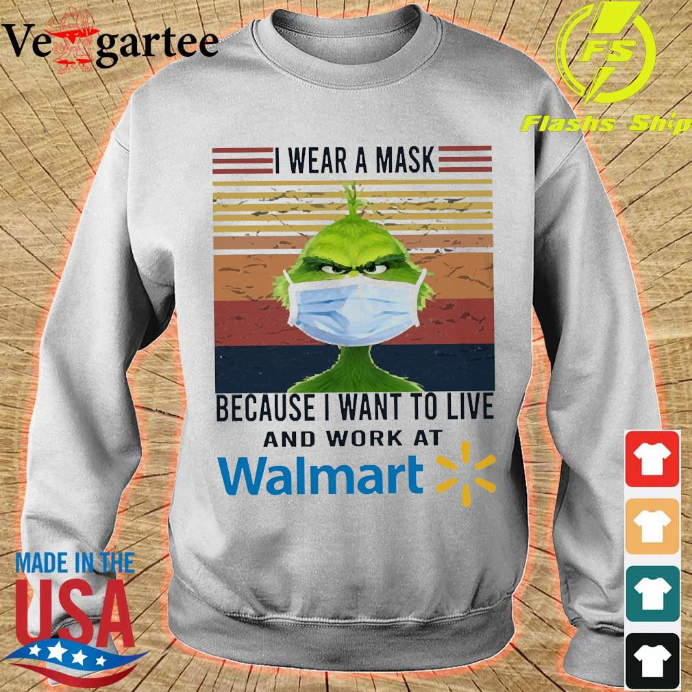 Grinch I wear a mask because I want to live to work at Walmart vintage s sweater