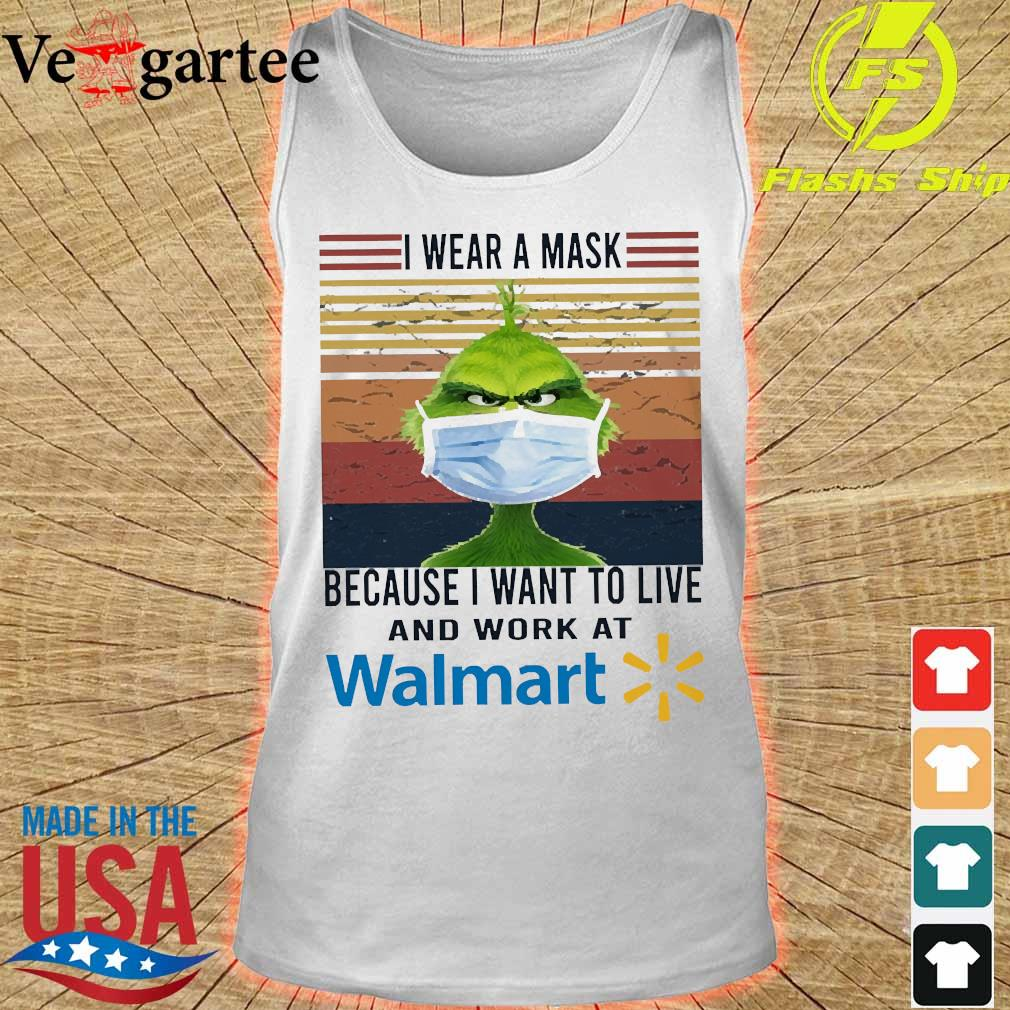 Grinch I wear a mask because I want to live to work at Walmart vintage s tank top