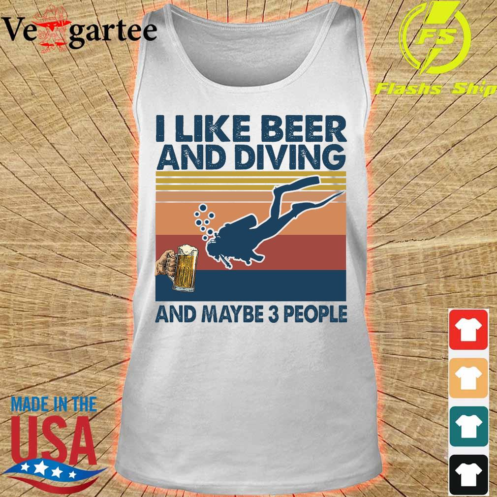I like beer and diving maybe 3 people vintage retro s tank top
